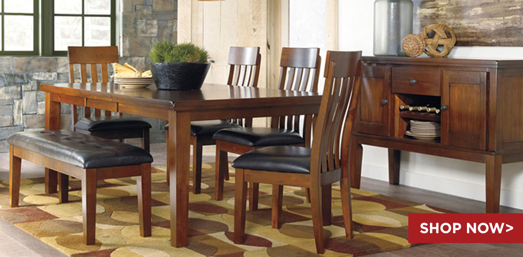 Ralene Rectangular Extension Table w/ 4 chairs